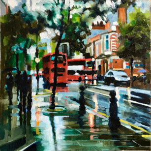 Ann Hawksley: On the Steps of Chelsea Town Hall. 35.5x35.5 cms unframed; Oil on board