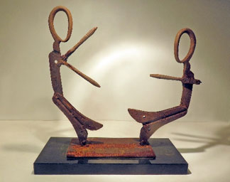 Gilbert Whyman: Ebb and Flo - Two Mermaids. W39xH41cms; welded steel