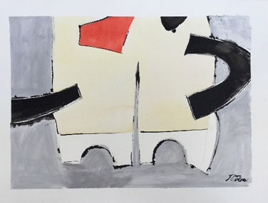 Janet Treloar: Chelsea Tides, Bridges and Buses. 56x76cms unframed; water based paint and ink on 300lb paper