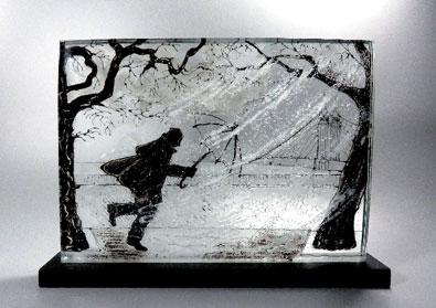 Teresa Chlapowski: Chelsea Embankment in the Rain. 38L x 7W x 27H cm incl. base; fused glass, slate